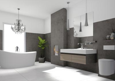 Luxurises modernes Badezimmer mit freistehender Badewanne